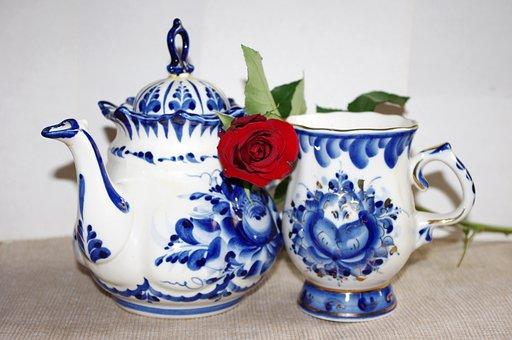 Porcelain, Gzhel, Rose, Maker, Cup