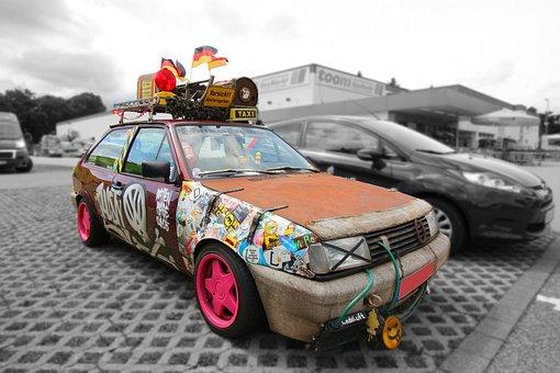 Auto, Golf, Volkswagen, Vw, Tuning, Old, Rusty, Rat