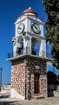 Belfry, Clock, Church, Architecture, Ayios Nikolaos