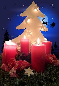 Advent Wreath, Christmas Tree, Reindeer Sleigh