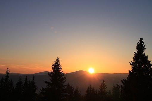 Cold, Gorj, Mountain, Orange, Ranca, Romania, Snow, Sun