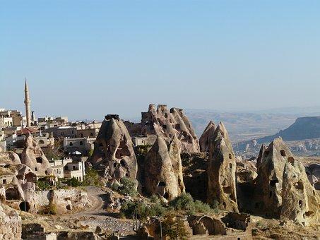 Uchisar, Minaret, Tuff Stone Dwellings, Cappadocia