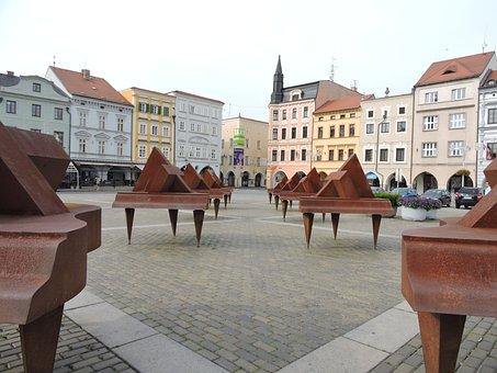 Square, Czech Budejovice, Art, Building, City center