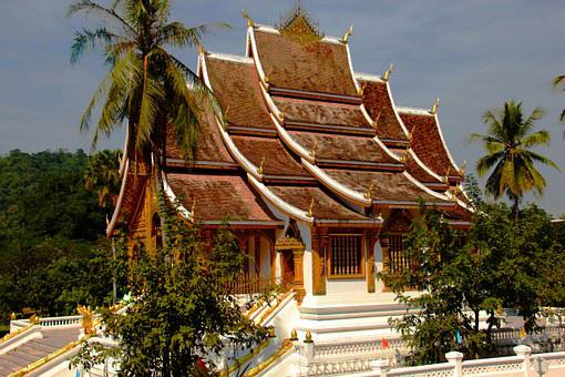 Temple, Laos, Roof Top, Asia, Buddhism, Religion