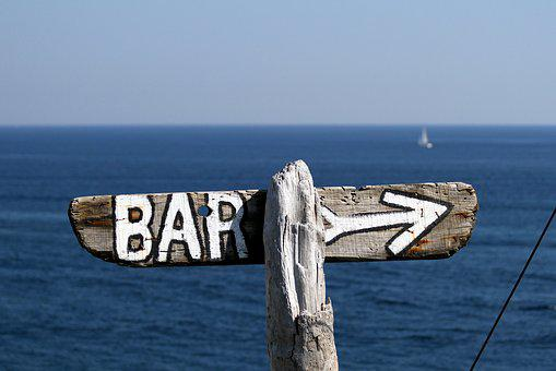 Sign, Bar, Right, Wood, Sea, Blue, Sunny, Vintage