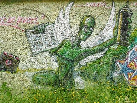 Graffitty, Augsburg, Green, Stone, Sprayer