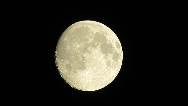 Moon In The Night Sky, Cosmos, Night, Sky, Moon, Dark