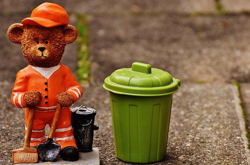 Bear, Profession, Refuse Collector, Fig, Cute, Sweet