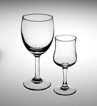 Glass, White Background, Black Lines, Goblet