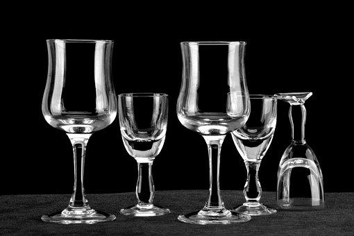 Glass, Black Background, White Stripes, Goblet