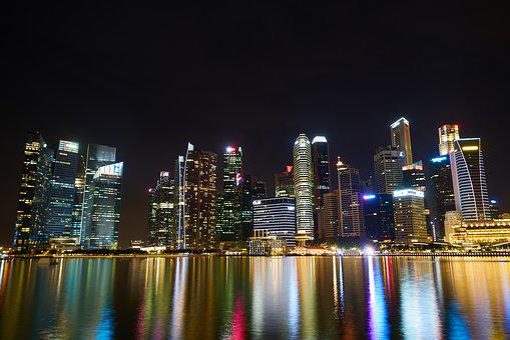 Singapore, City, Urban, Night, Lights, Complex