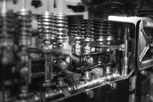 Motor, Engine, Oil, Black And White, Car, Mechanic
