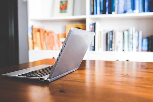 Technology, Laptop, Computer, Netbook, Opened, Wooden