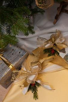 Christmas Presents, Gift, Wrap, Ribbon, Gold, Silver
