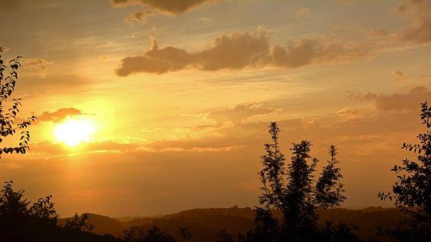 Sunset, Sun, Twilight, Evening, Sky, Clouds, France