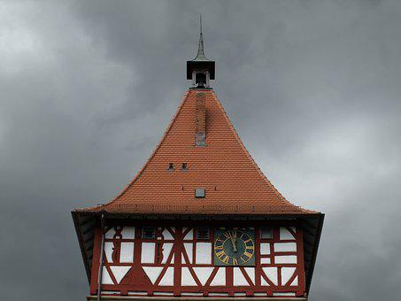 Waiblingen, Old Town, Tower Roof, Mood, Lunch, Dark