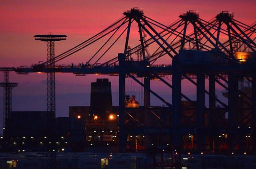 Port, Container Port, Industry, Hafenanglage, Sunset