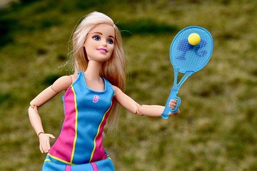 Barbie, Doll, Tennis, Playing, Girl, Female, Woman