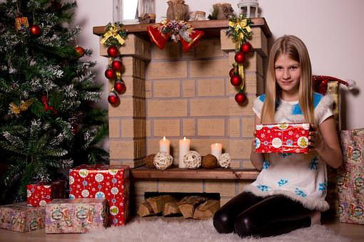 Christmas Tree, New Year's Eve, Gifts, Kids, Girl