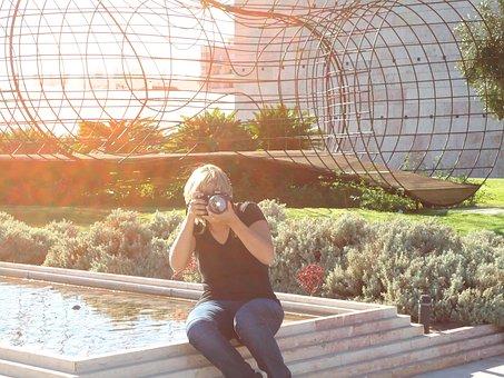 Photographer, Light, Sol, Square, Sunset, Against Light