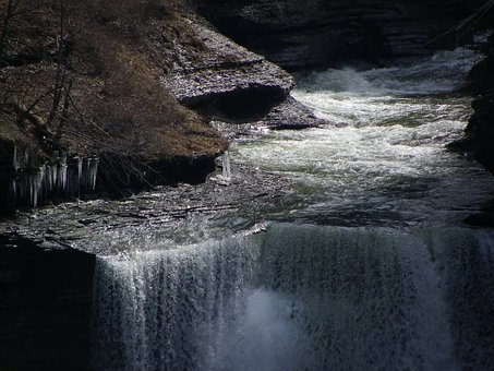 Ithaca, New York, Waterfall, Gorge, Park, Geology, Rock