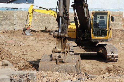 Excavators, Site, Spoon, Construction Machine