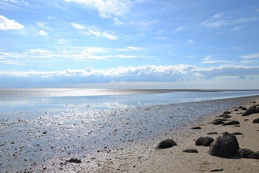 North Sea, Watts, Wadden Sea, Ebb, Tides, Nordfriesland