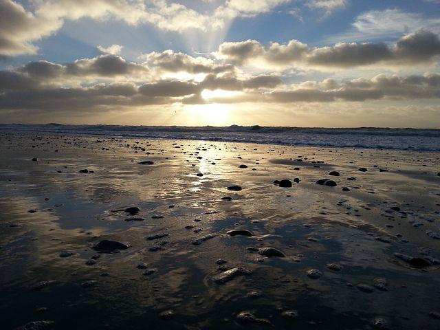 North Sea, Watts, Sun, Clouds, Sky, Schlick, Wadden Sea