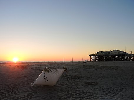 North Sea, Beach, Ebb, Sunset, Pile Construction