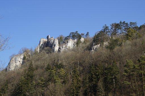Rusenschloss, Ruin, Blaubeuren, Swabian Alb, Landscape