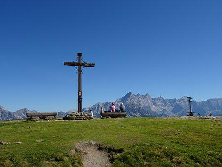 Alm, Summit Cross, Mountains, Panorama