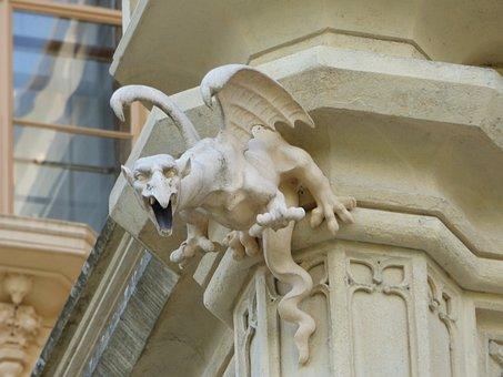 Neck, Gutter, Gargoyle, Decorating, Sculpture, Castle