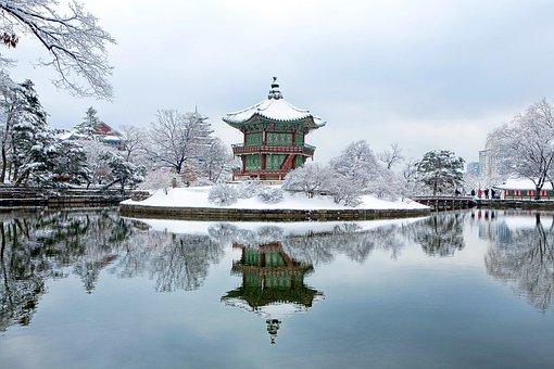 Gyeongbok Palace, Facing Garden, Snow, Winter
