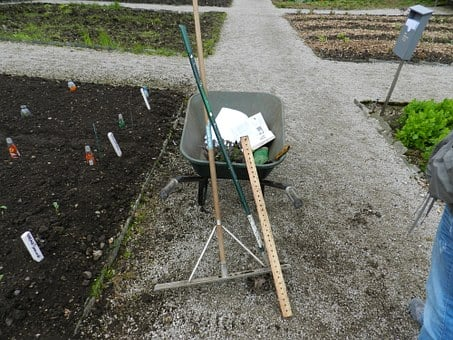 Wheel Barrow, Rake, Garden Tools, Garden, Barrow