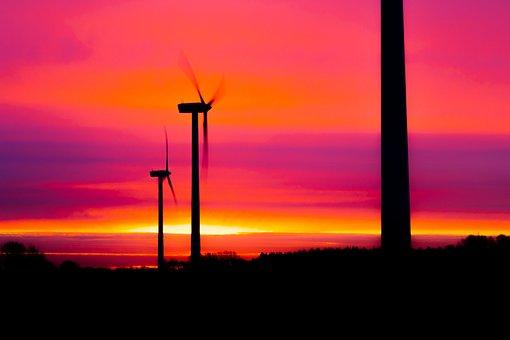 Wind Power Plant, Sunrise, Sun, Wind Turbine, Pinwheel