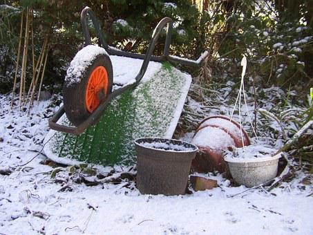 Wheelbarrow, Snow, Winter, Garden, Equipment, Trolley