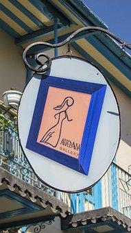 Art Gallery, Sign, Vintage, Street, Village, Lefkara