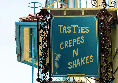 Cafe, Crepes, Sign, Vintage, Blue, Street, Village