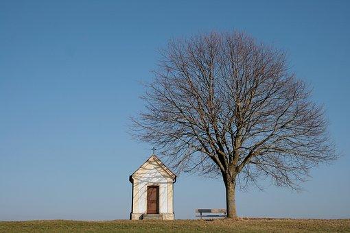 Chapel, Feldkapelle, Tree, Defoliated, Spring, Sky