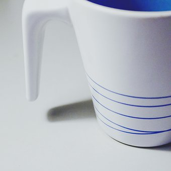 Cup, Ikea, Minimalist, White, Blue, Still Life, Line