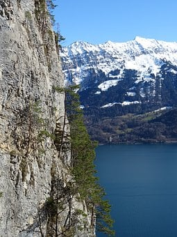 Mountains, Nature, Sky, Blue, Snow, Lake, Switzerland