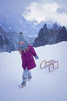 Person, Human, Child, Girl, Toboggan, Slide, Winter
