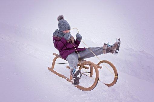 Person, Human, Child, Girl, Slide, Toboggan, Winter