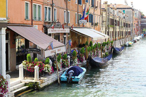 Venice, Water, Boot, Restaurant, Cafe, Gondola, River