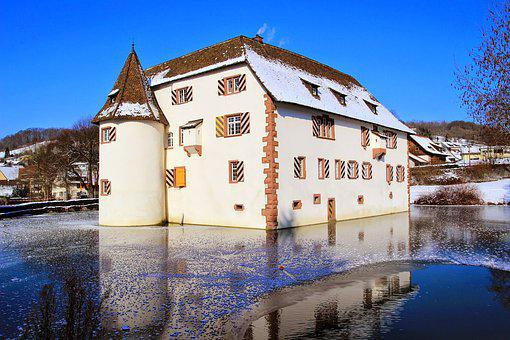 Moated Castle, Lake, Sky, Castle, Park