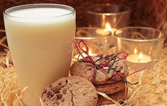 Milk, Glass Of Milk, Cookies, Candles, Drink, Delicious