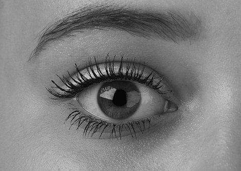 Eyes, Eye, Algae, Girl, Black And White