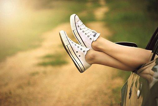 Legs, Window, Car, Dirt Road, Relax, Woman, Nature