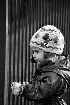 Boy, Child, Winter, Fence, Prisoner, Wander, Explore