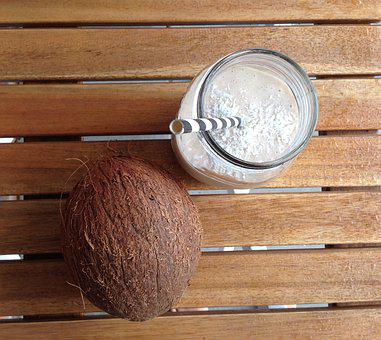 Coconut, Smoothie, Straw, Glass, Drink, Summer